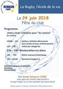 programme fete rugby 2018